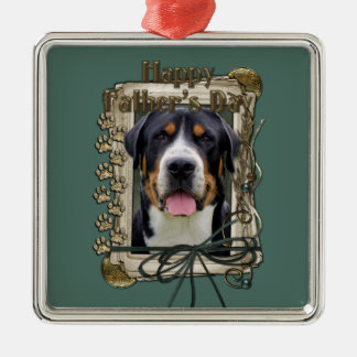 Fathers Day - Stone Paws - Greater Swiss Mountain Silver-Colored Square Decoration