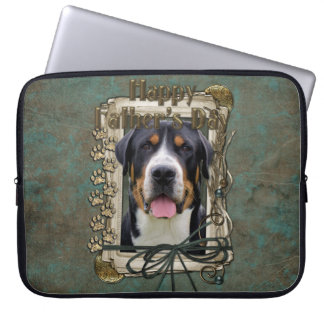 Fathers Day - Stone Paws - Greater Swiss Mountain Laptop Computer Sleeve