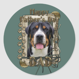 Fathers Day - Stone Paws - Greater Swiss Mountain Round Sticker