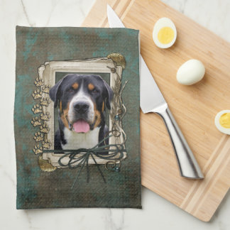 Fathers Day - Stone Paws - Greater Swiss Mountain Kitchen Towel