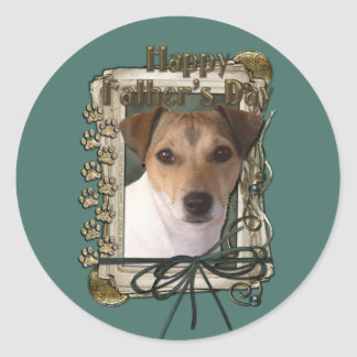 Fathers Day Stone Paws Jack Russell Round Sticker