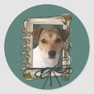 Fathers Day Stone Paws Jack Russell Round Stickers