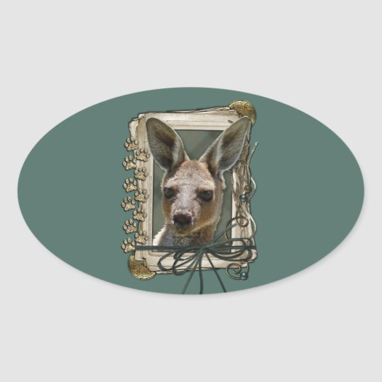 Fathers Day - Stone Paws - Kangaroo Oval Sticker
