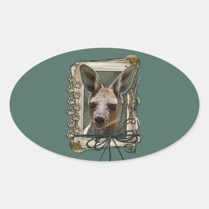 Fathers Day - Stone Paws - Kangaroo Oval Sticker