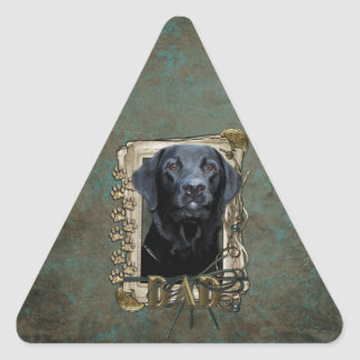Fathers Day - Stone Paws - Labrador - Black - Gage Triangle Stickers