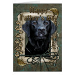 Fathers Day - Stone Paws - Labrador - Black - Greeting Card