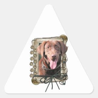 Fathers Day - Stone Paws - Labrador - Chocolate Triangle Sticker