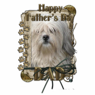 Fathers Day - Stone Paws - Lowchen - Dad Standing Photo Sculpture
