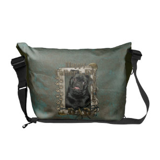 Fathers Day - Stone Paws - Pug - Ruffy Courier Bags