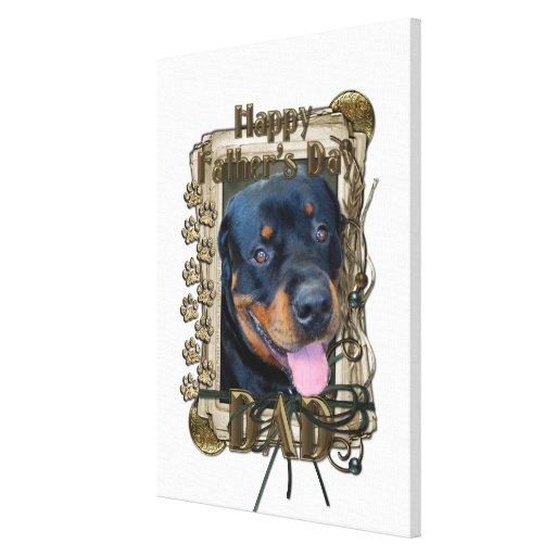 Fathers Day - Stone Paws - Rottweiler - Harley Gallery Wrapped Canvas
