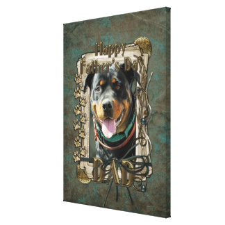 Fathers Day - Stone Paws - Rottweiler - SambaParTi Stretched Canvas Prints