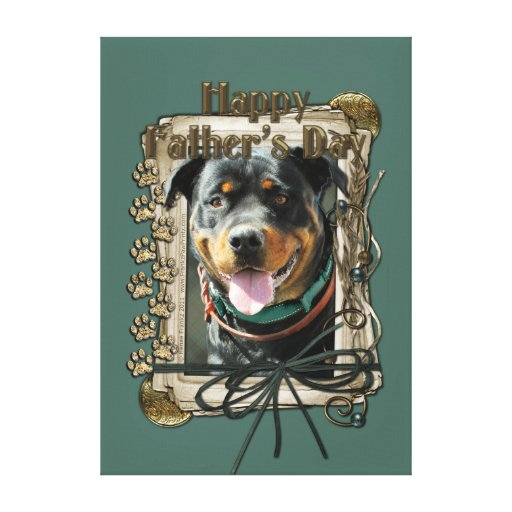 Fathers Day - Stone Paws - Rottweiler - SambaParTi Stretched Canvas Print