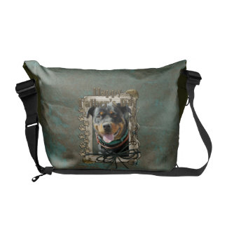 Fathers Day - Stone Paws - Rottweiler - SambaParTi Messenger Bag