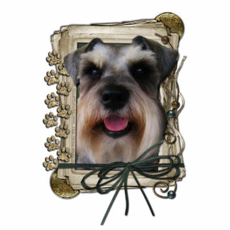 Fathers Day - Stone Paws - Schnauzer Standing Photo Sculpture