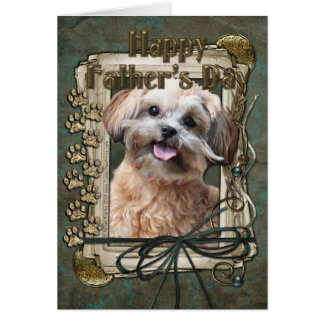 Fathers Day - Stone Paws - ShihPoo - Maggie Greeting Card
