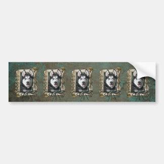Fathers Day - Stone Paws - Siberian Husky Bumper Sticker