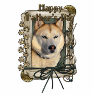 Fathers Day - Stone Paws - Siberian Husky - Copper Standing Photo Sculpture