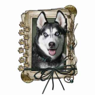 Fathers Day - Stone Paws - Siberian Husky Standing Photo Sculpture