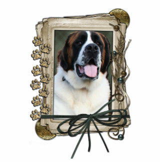 Fathers Day - Stone Paws - St Bernard - Mae Standing Photo Sculpture