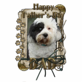 Fathers Day - Stone Paws - Tibetan Terrier - Dad Standing Photo Sculpture