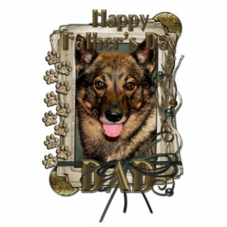 Fathers Day - Stone Paws - Vallhund - Dad Standing Photo Sculpture