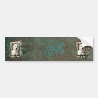 Fathers Day - Stone Paws - Westie Bumper Sticker