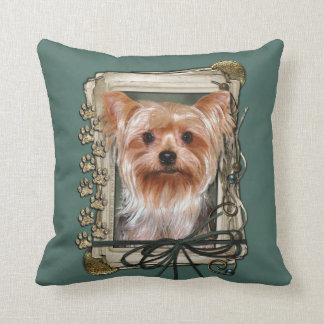 Fathers Day - Stone Paws - Yorkshire Terrier Throw Pillow