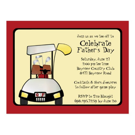 Father's Day Tee Off Invitation Postcard