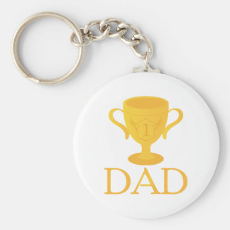 Father's Day Trophy For Number One Dad Gift Basic Round Button Key Ring
