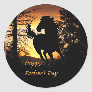 Father's Day Wild Horse Sunset Stickers