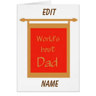 Father's Day World's Best Dad Banner Customize Greeting Card