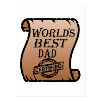 Father's DayWorld's Best Dad Certified Certificate Postcard