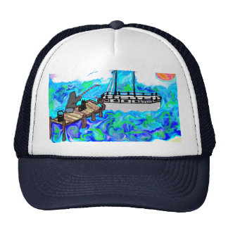 father'sday fishing hat man on dock