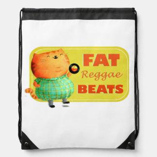 Fatty Fatty Fat Reggae Cat Drawstring Bags