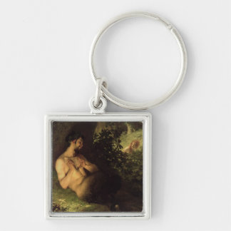 Faun and Nymph, 1868 Silver-Colored Square Key Ring
