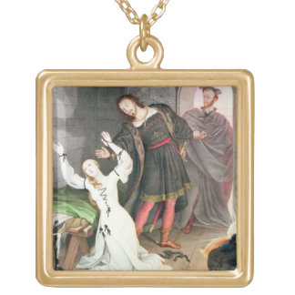 Faust, 1828 (ink and w/c) square pendant necklace
