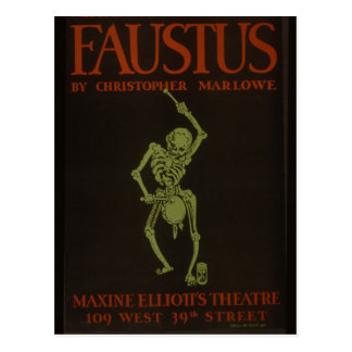 Faustus Poster Vintage Retro Skeleton Postcard
