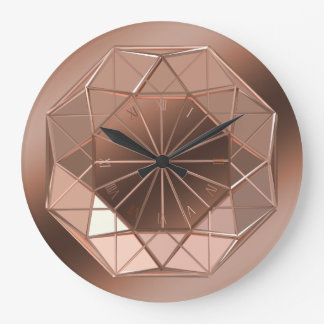 Faux 3D Geometric Copper Octagon Round Wall Clock