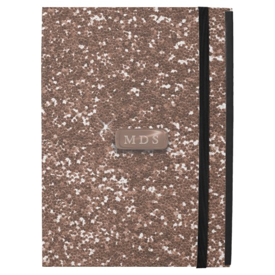 Faux 3D Monogram Rose Gold Glitter iPad Pro