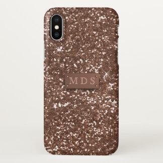 Faux 3D Monogram Rose Gold Glitter iPhone X Case
