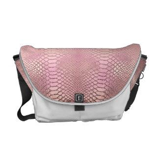 Faux Alligator skin in pink Courier Bag