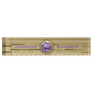 Faux Amethyst Gemstone Metallic Shiny Gold Damask Desk Nameplates