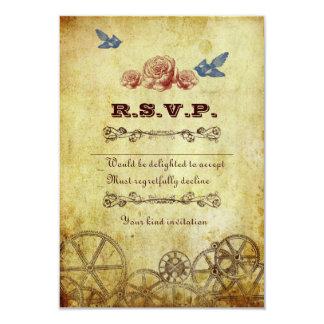 Faux Antique Gold Victorian Steampunk Wedding 9 Cm X 13 Cm Invitation Card
