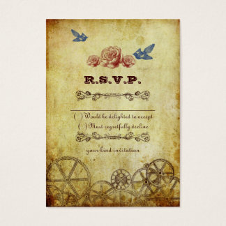Faux Antique Gold Victorian Steampunk Wedding Business Card