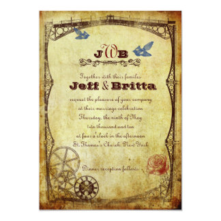 Faux Antique Gold Victorian Steampunk Wedding Card