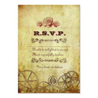 Faux Antique Gold Victorian Steampunk Wedding Card