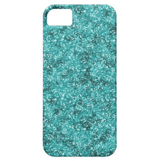 Faux Aqua Blue Glitter Case For The iPhone 5