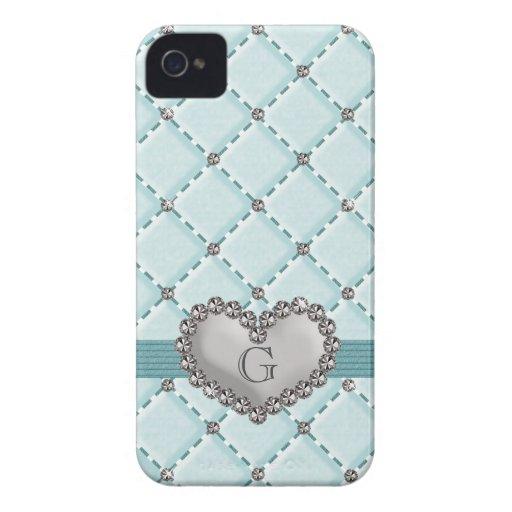 Faux Aqua Quilted Rhinestone Heart BlackBerry Bold Blackberry Case