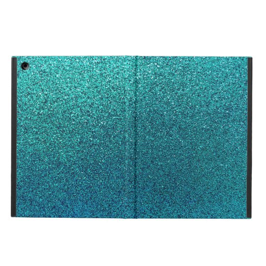 Faux Aqua Teal Turquoise Blue Glitter Background iPad