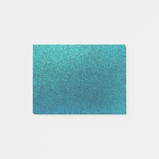 Faux Aqua Teal Turquoise Blue Glitter Background Post-it